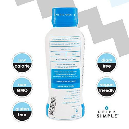 Drink Simple Maple Water - Organic, Non-Gmo, Gluten Free, Vegan Natural Hydration - Low Sugar Coconut Water Alternative - 12 Fluid Ounce (Pack Of 12)