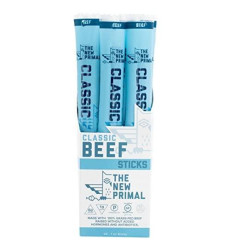 The New Primal 100% Grass-Fed Classic Beef Meat Stick, Whole30 & Paleo Approved, Gluten, Dairy & Soy Free, 1 Oz (Pack Of 20)