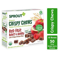 Sprout Organic Crispy Chews Toddler Snacks, Red Fruit Beet & Berry, 5 Count Box Of 0.63 Ounce Single Serve Packets (Pack Of 10 Boxes)