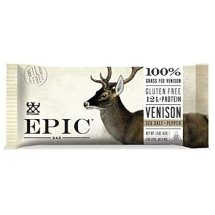 Epic Venison Sea Salt & Pepper Bars, Keto Consumer Friendly, 12Ct Box 1.5Oz Bars