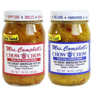 GOLDING FARMS 2 Pack - Mrs. Campbell's Chow Chow - One 16oz Jar of Each: Hot and Sweet