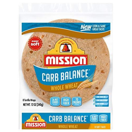 Mission Carb Balance Soft Taco Whole Wheat Tortillas, Low Carb, Keto, Whole Grains, High Fiber, No Sugar, Medium Size, 8 Count