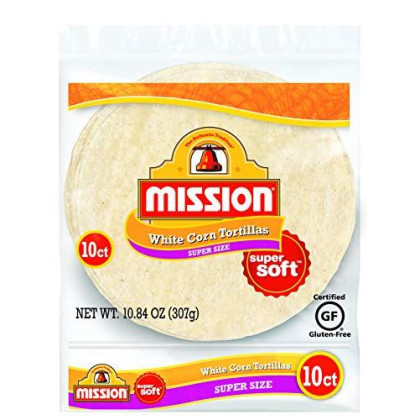 Mission Super Size White Corn Tortillas, Gluten Free, Trans Fat Free, Large Soft Taco Size, 10 Count