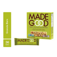 MadeGood Apple Cinnamon Granola Bars, 6 Pack (36 ct, .85 ounce); Contain Nutrients of One Serving of Vegetables; Gluten-Free Oats, Sweet Apples and Spicy Cinnamon; Nut and Allergen-Free Bars