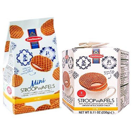 Daelmans Dutch Honey Combo Pack- 7.06oz Wafer Bag and 8.11oz Stroopwafel Hex Box