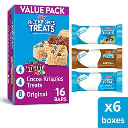 Kellogg'S Rice Krispies Treats, Snack Bars Variety Pack, 16 Count Box (Pack Of 6)