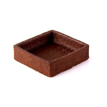 Chocolate Square Tart Shell Straight Edge Coated Inside With Cocoa Butter - 3''X3'' - 60 Pces