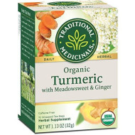 Traditional Medicinals Organic Turmeric With Meadowsweet & Ginger Herbal Tea, 16 Tea Bags (Pack Of 6)