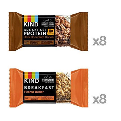 Kind Breakfast Bars Variety Pack, Dark Chocolate Protein & Peanut Butter, Gluten Free, 1.8 Ounce, 16 Count