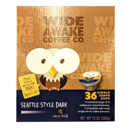 Wide Awake Coffee Seattle Style Dark Single Serve Cups 13oz (32 Count Box)