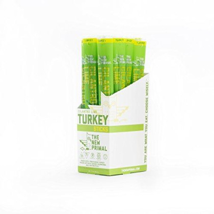The New Primal 100% Free-Range Cilantro Lime Turkey Meat Stick, Whole30 & Paleo Approved, Gluten, Dairy & Soy Free, 1 Oz (Pack Of 20)