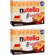 """Ferrero: """"Nutella B-ready """" a crisp wafer of bread in the form of mini baguette stuffed with a creamy Nutella 15 pieces 10.13 oz (286g) Pack of 2 [ Italian Import ]"""
