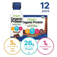 Orgain Organic 26G Grass Fed Whey Protein Shake, Creamy Chocolate - Meal Replacement, Ready To Drink, Low Net Carbs, No Sugar Added, Gluten Free, Non-Gmo, 14 Ounce, 12 Count