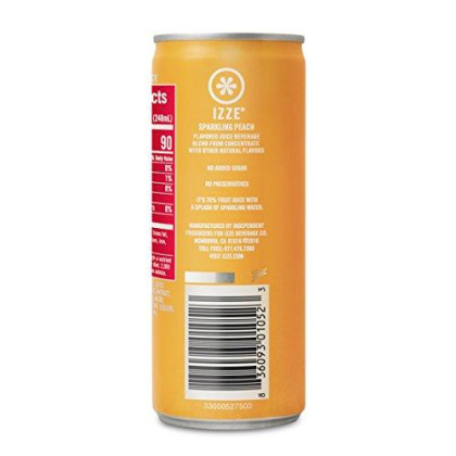 Izze Sparkling Juice, Peach, 8.4 Fl Oz (24 Count), Package May Vary