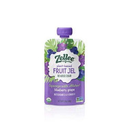 Zellee Organic Fruit Jel Pouches   Blueberry Grape   12 Pack   Nongmo, Gluten-Free, Vegan, Plant-Based, No Added Sugar, Antioxidant Rich   Healthy Snack For Adults & Kids   Jello Alternative