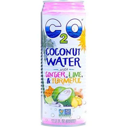 C2O Pure Coconut Water With Ginger, Lime And Turmeric. 100% All Natural Electrolyte Drink - Healthy Alternative To Soda, Coffee, And Sports Drink - Non-Gmo, Gluten Free - 17.5 Fluid Ounce (Pack Of 12)