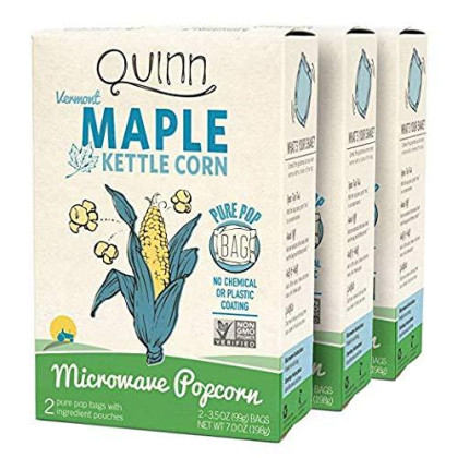 Quinn Snacks Microwave Popcorn - Made With Organic Non-Gmo Corn - Maple Kettle Corn, 7 Ounce (Pack Of 3)