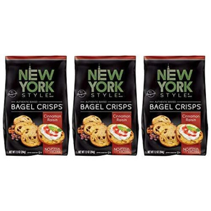 New York Style Bagel Crisps Cinnamon Raisin, 7.2 Ounce -(Pack Of 3) Party Time Snacks