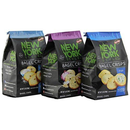 New York Style Bagel Crisps Plain, Sea Salt, Everything -(Pack Of 3) Convenient Variety - 7.2 Ounce