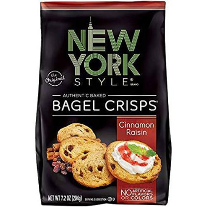 New York Style Bagel Crisps Cinnamon Raisin, 7.2 Ounce - (Pack Of 12) Party Time Snacks