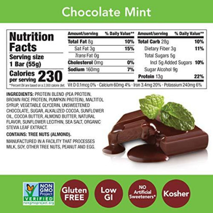 Think! (Thinkthin) Vegan/Plant Based High Protein Bars-Chocolate Mint, 13G Protein, 5G Sugar, No Artificial Sweeteners, Gluten Free, Non Gmo Project Verified,1.94 Oz Bar(10 Count-Packaging May Vary)