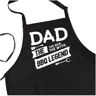 BBQ Grill Apron - Dad. The Man. The Myth. The Legend - Funny Apron For Dad - 1 Size Fits All Chef Apron Poly/Cotton 4 Utility Pockets, Adjustable Neck and Extra Long Waist Ties