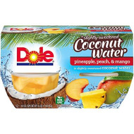 Dole Fruit Bowls Pineapple Peach Mango in Slightly Sweetened Coconut Water, 4 Cups, Pack of 6