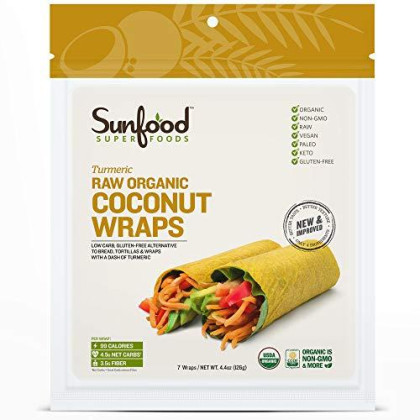 Sunfood Superfoods Raw Organic Coconut Wraps- Natural Turmeric Flavor. Low Carb Gluten-Free Alternative to Bread, Tortilla & Wraps. New & Improved: Best in Taste and Texture. Paleo, Keto. 7 Count Bag