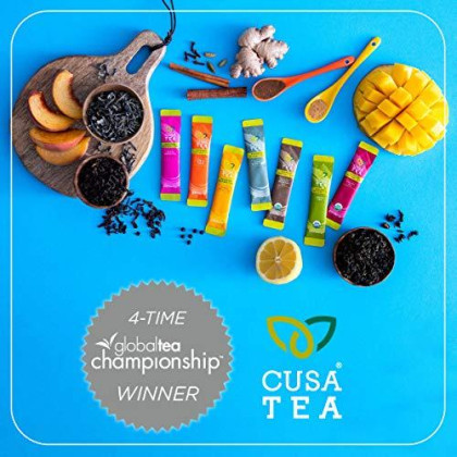 Cusa Tea: Premium Instant Tea - Organic Tea And Real Fruit And Spices - No Sugar Or Artificial Flavors - Ready In Seconds - Hot Or Iced Tea - Variety Pack- 10 Servings