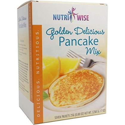 Nutriwise - Golden Delicious Pancake Mix | High Protein, Low Carb, Low Fat, Low Calorie, Aspartame Free (7/Box)