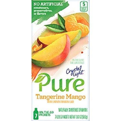 Crystal Light Pure Tangerine Mango On The Go Drink Mix, 7-Packet Box (2 Box Pack)