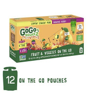 Gogo Squeez Fruit & Veggiez On The Go, Variety Pack (Pear/Berry), 3.2 Ounce (4 Pouches), Gluten Free, Vegan Friendly, Healthy Snacks, Unsweetened, Recloseable, Bpa Free Pouches