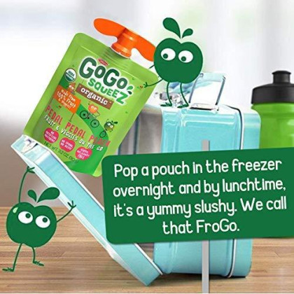 Gogo Squeez Organic Fruit & Veggiez On The Go, Apple Peach Sweet Potato, 3.2 Ounce (4 Pouches), Gluten Free, Vegan Friendly, Unsweetened, Recloseable, Bpa Free Pouches (Package May Vary)