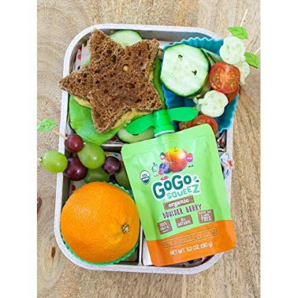 Gogo Squeez Organic Fruit & Veggiez On The Go, Apple Mixed Berry Carrot, 3.2 Ounce (4 Pouches), Gluten Free, Vegan Friendly, Unsweetened, Recloseable, Bpa Free Pouches (Package May Vary)