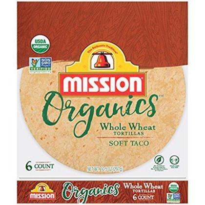 Mission Foods Organis Whole Wheat Soft Taco Tortillas Kosher Certified by CRC Non-GMO Project Certified Organic;