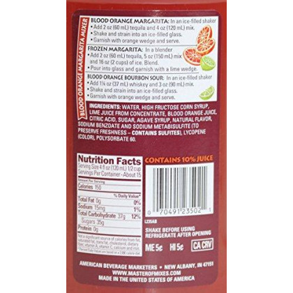Master Of Mixes Blood Orange Margarita Drink Mix, Ready To Use, 1.75 Liter Bottle (59.2 Fl Oz), Individually Boxed