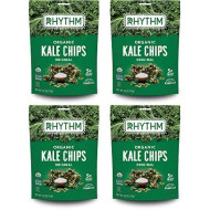 Rhythm Superfoods Kale Chips, Original, Organic And Non-Gmo, 2 Ounce (Pack Of 4), Vegan/Gluten-Free Superfood Snacks, Packaging May Vary