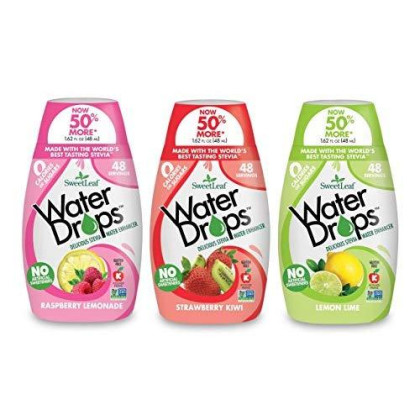 Sweetleaf Stevia Natural Water Drops Variety Pack With Raspberry Lemonade, Lemon Lime & Strawberry Kiwi (1.62 Ounce Each)