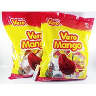 Pack of 2 Vero Mango, Chili Covered Mango Flavored Lollipops, 40 Pieces Authentic Mexican Candy with Free Chocolate Kinder Bar Included