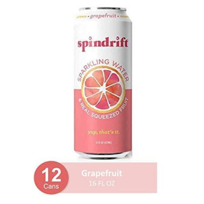Spindrift Sparkling Water, Grapefruit Flavored, Made With Real Squeezed Fruit, 16 Fl Oz (Pack Of 12) (Only 22 Calories Per Seltzer Water Can)