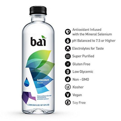 Bai Antioxidant Water, Alkaline Water, Infused With The Antioxidant Mineral Selenium, Purified Water With Electrolytes Added For Taste, Ph Balanced To 7.5 Or Higher, 33.8 Fluid Ounce, 12 Count