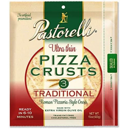 Pastorelli Ultra-Thin Pizza Crust - Traditional, 12 Inch, 3 Count, Pack Of 10 (30 Total Crusts)