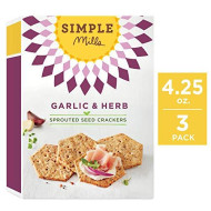 Simple Mills Sprouted Seed Crackers, Garlic & Herb, 4.25 Oz, 3 Count