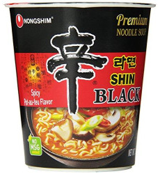 Nongshim Shin Black Noodle Soup, Spicy, 2.64 Ounce (Pack Of 6)