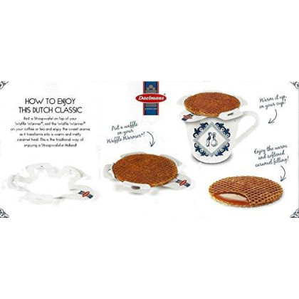 Daelmans Stroopwafels Wafers 3 Variety Pack Cube Bundle (Caramel, Honey, Chocolate-Caramel) with 1 Waffle Warmer (4-piece set)
