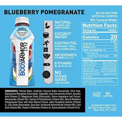 Bodyarmor Lyte Sports Drink Low-Calorie Sports Beverage,Blueberry Pomegranate,Natural Flavors With Vitamins,Potassium-Packed Electrolytes,No Preservatives,Perfect For Athletes,16 Fl Oz(Pack Of 12)