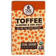 Taza Chocolate, Organic, 60% Dark Stone Ground Chocolate Bar, Toffee, Almond & Sea Salt, 2.5 oz, Pack of 4