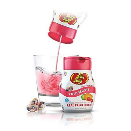 Jelly Belly - Water Enhancer, Tuitti Fruitti (4 Bottles, Makes 96 Flavored Water Drinks) - Sugar Free, Zero Calorie, Naturally Flavored Liquid Drink Mix - Made With Real Fruit Juice