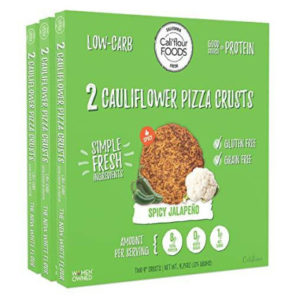 Cali'Flour Foods Pizza Crust (Spicy Jalapeno, 3 Boxes, 6 Crusts) - Fresh Cauliflower Base   Low Carb, High Protein, Gluten And Grain Free   Keto Friendly