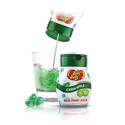 Jelly Belly - Water Enhancer, Green Apple (4 Bottles, Makes 96 Flavored Water Drinks) - Sugar Free, Zero Calorie, Naturally Flavored Liquid Drink Mix - Made With Real Fruit Juice